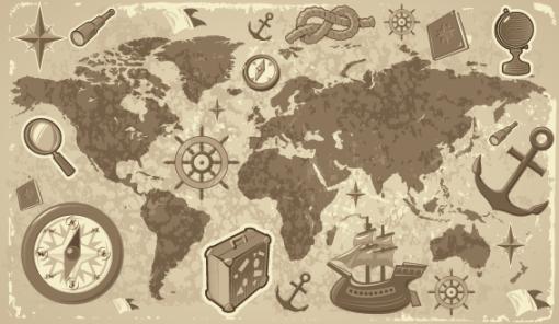 Papel de Parede Mapa Mundi Nautico