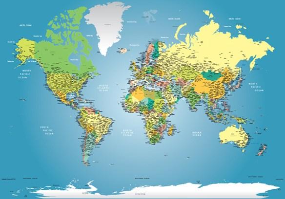 papel de parede mapa mundi decoração