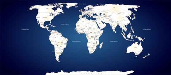 Papel de Parede Mapa Mundi sob medida modelo 26
