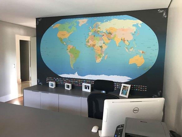 Papel de Parede Mapa Mundi Escritório