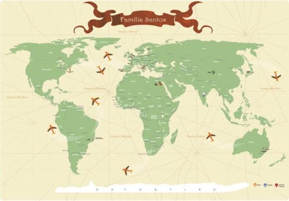 Mapa Mundi para Marcar Viagens