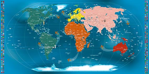 Mapa Mundi Papel de Parede Adesivo Modelo 25