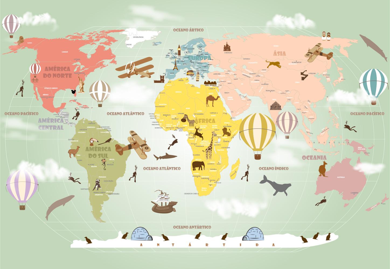 Papel de parede mapa mundi infantil para crian as de - Papel pintado mapamundi ...