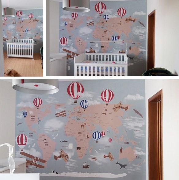 papel de parede mapa mundi infantil aplicado