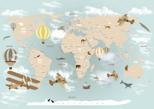 Papel de Parede Mapa Mundi Infantil 18-D1