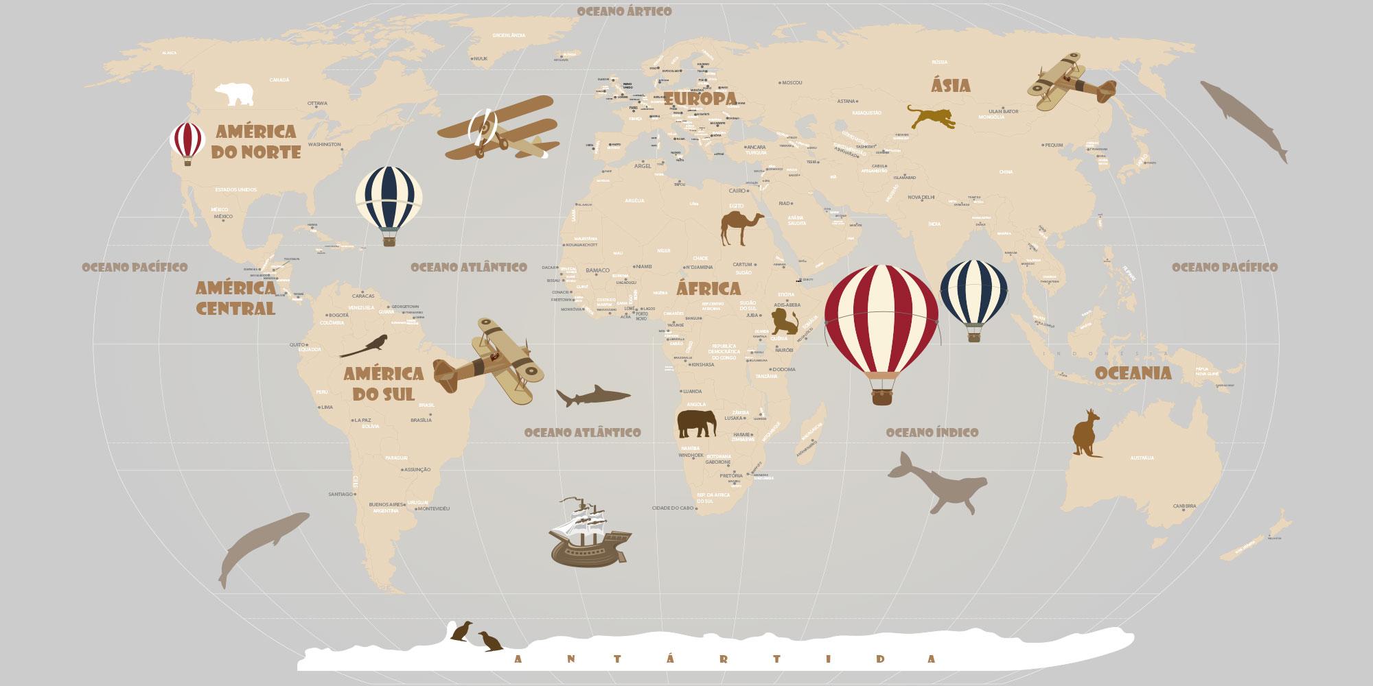 Papel de Parede Mapa Mundi Infantil para crianas de todas as idades