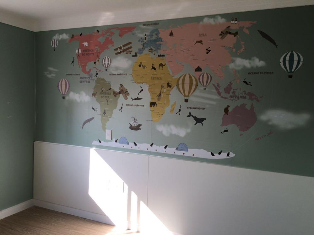 Papel de parede mapa mundi infantil para crian as de for Papel de pared infantil