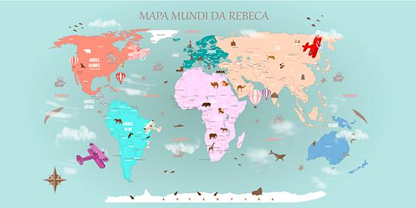 Papel de Parede Mapa Mundi Decorativo 18-E-1