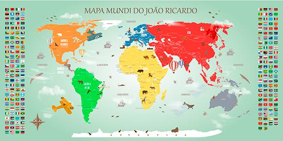 Papel de Parede Mapa Mundi Decorativo 18-E-2