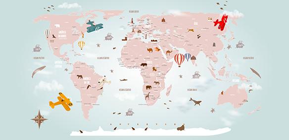 Papel de Parede Mapa Mundi Decorativo 18-E