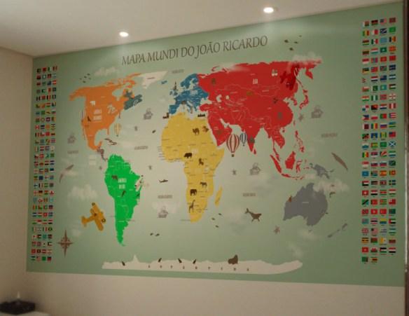 papel de parede mapa mundi 18-E aplicado