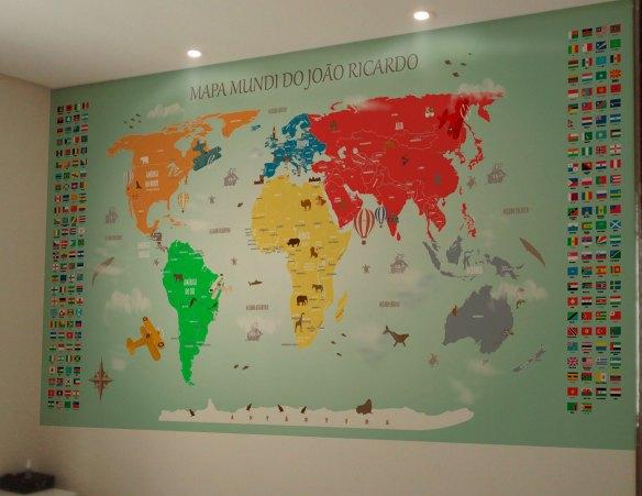 Papel de Parede Mapa Mundi para Decorao em Adesivo de Parede