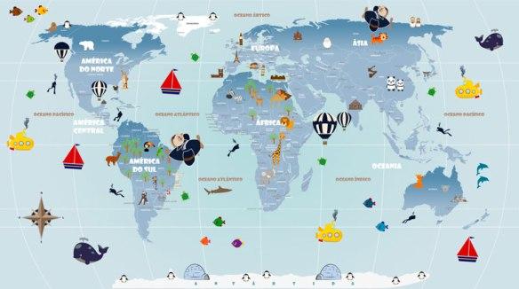 Papel de Parede Mapa Mundi Infantil - modelo 18-G