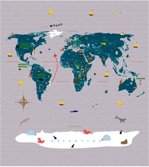 Papel de Parede Mapa Mundi para viagens - modelo 18-F1