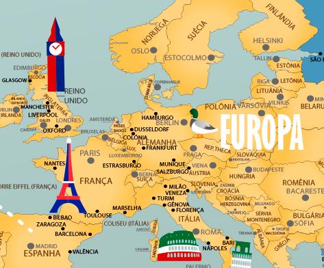 Papel de Parede Mapa Mundi Completo 18-H com ampliação da Europa exibindo nomes dos países e cidades.