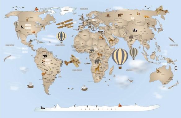 Papel de Parede Mapa Mundi Completo 18-H3