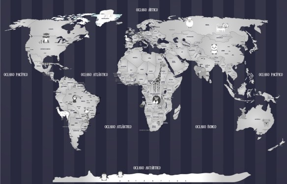 Papel de Parede Mapa Mundi Bebê 18-i2