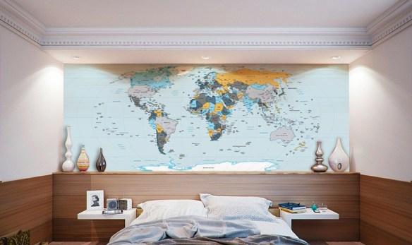 Papel de Parede Mapa Mundi para decoração modelo 22-A4 aplicado.