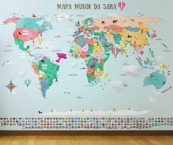 papel de parede mapa mundi infantil quarto de crianças