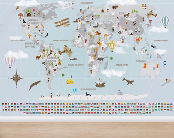 Aplicação de Papel de Parede Mapa Mundi viagens mod. 19-A1