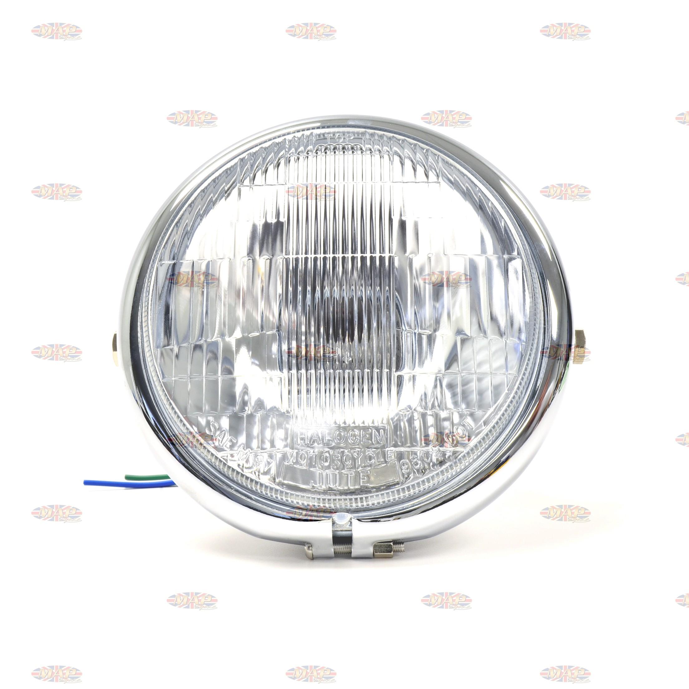 Bates Style 5 75 Chrome Side Mount Headlight With Blue Dot Beam Indicator
