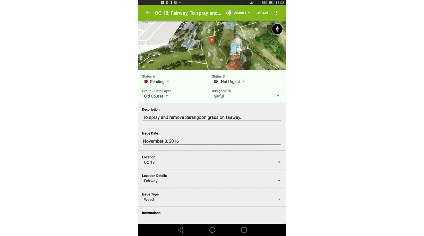 mapgage fieldapp screenshot golf issue record detail change status