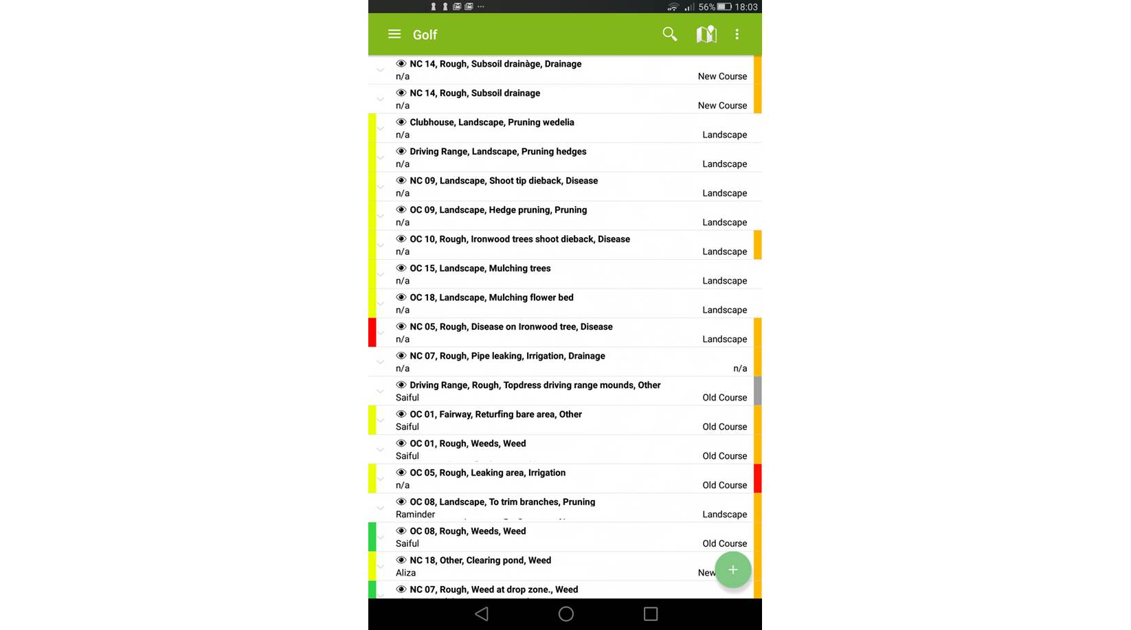 mapgage fieldapp screenshot golf issue record list overview