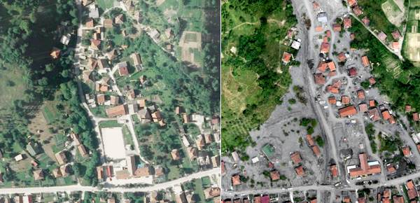 Drone Map of a disaster zone before and after a massive flood.