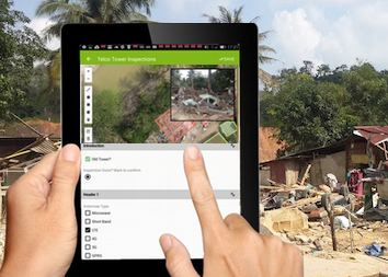 Screenshot of mapgage disaster response mobile app projecting disaster records and tasks onto drone map.