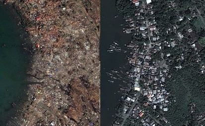 comparing drone and satellite images of tacloban typhoon flood disaster before and after the disaster.