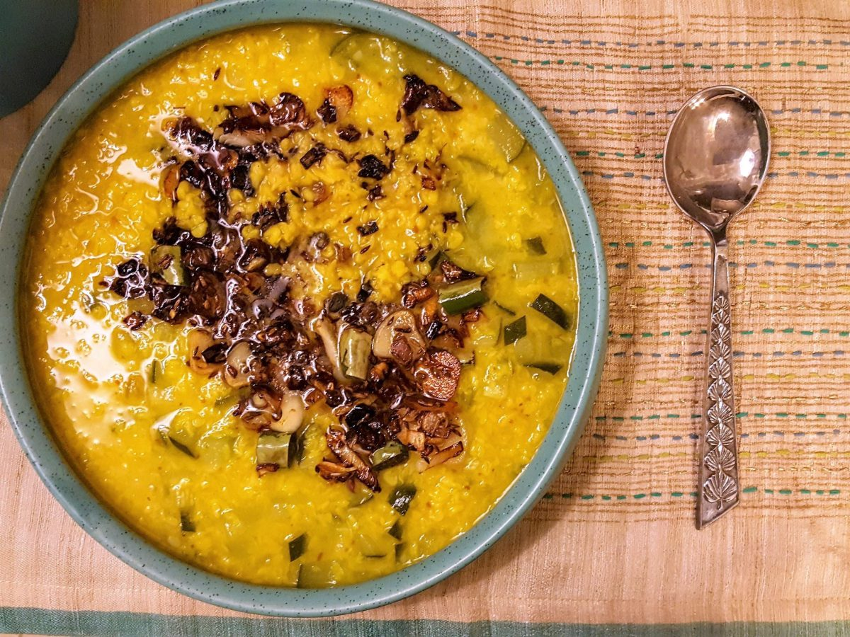 Moong Dal With Zucchini, Burnt Garlic and Onions