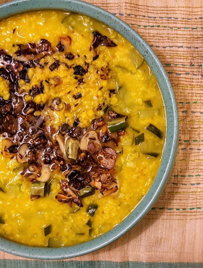 Indian Lentil Soup - Moong Dal With Zucchini, burnt garlic and crisp onions   Fall Comfort Food   Vegetarian   #CANRecipe   #MeatlessMonday     High Protein   Quick and Easy Weeknight Dinner