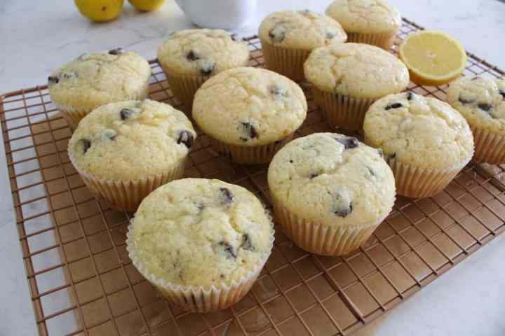 Lemon Chocolate Chip Muffins Glazed