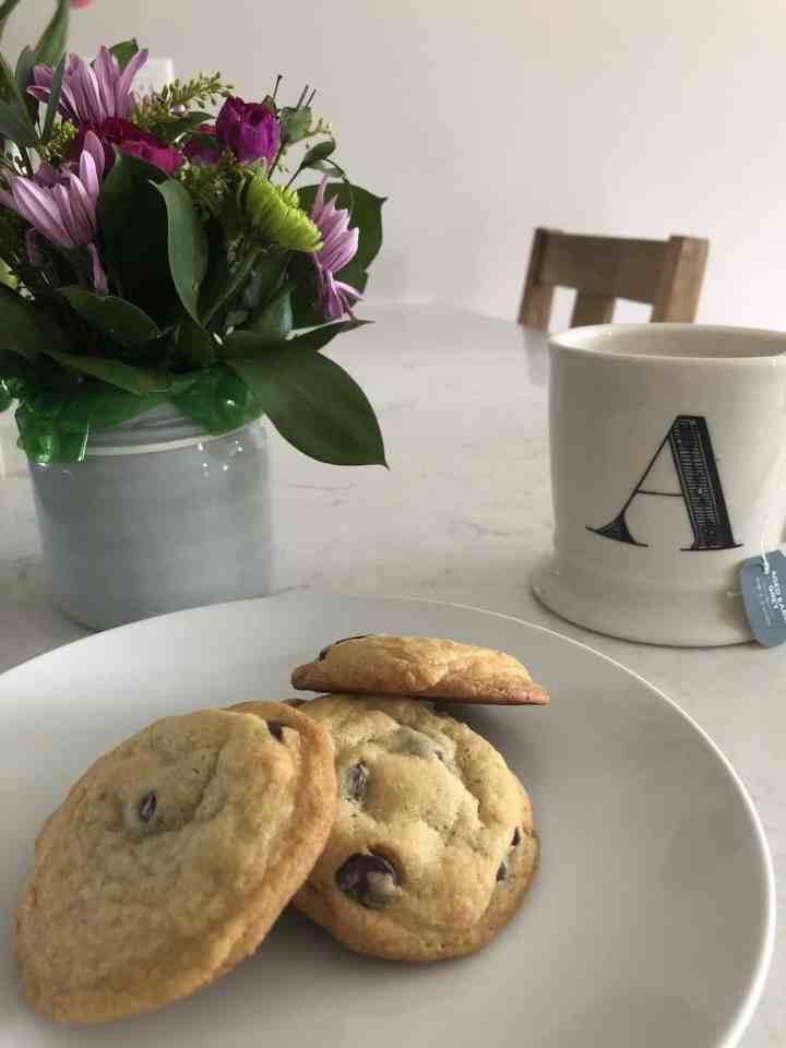 orange chocolate chip cookies and tea