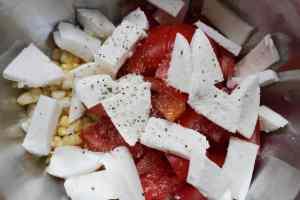 corn, tomatoes, and mozzarella for panzanella