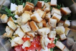 panzanella ingredients ready for dressing