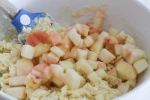 adding peaches peach scones