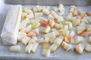 butter and peaches ready to be frozen