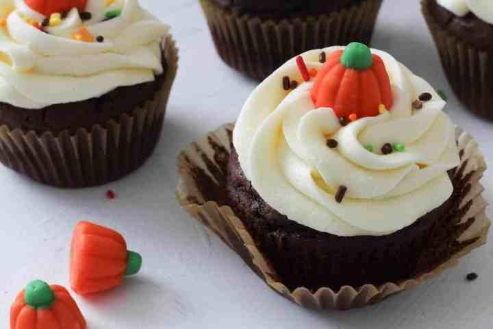 chocolate cupcake with vanilla buttercream unwrapped