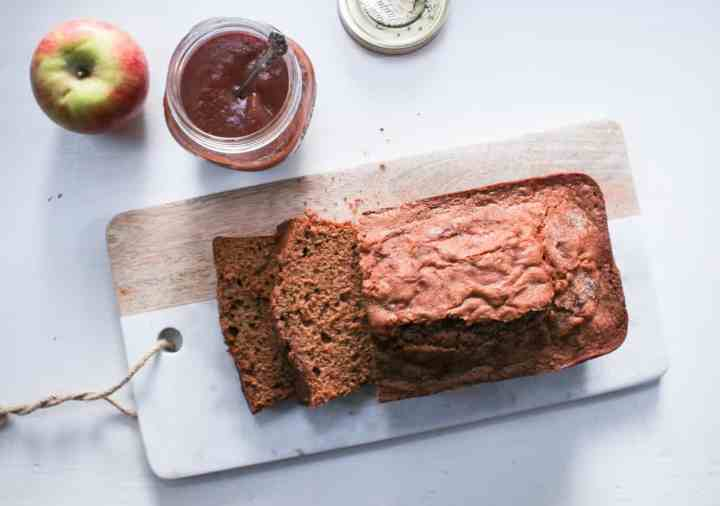 apple butter bread on marble cheese board
