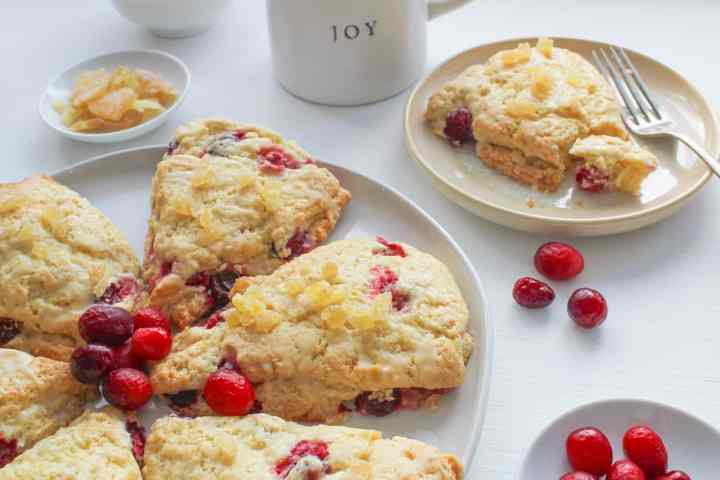 ginger cranberry scone on small plate