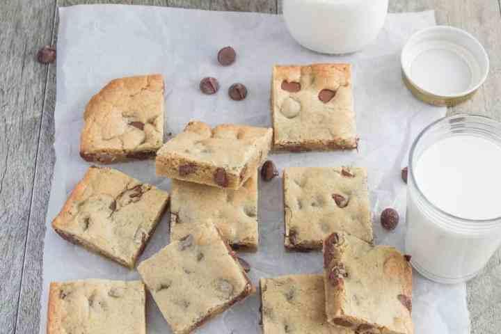 brown butter milk chocolate chip blondies with bottle of milk