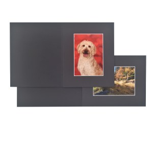 Bevelled black slip-in folders