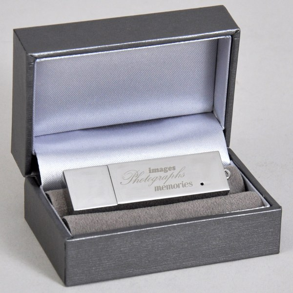 Luxury silver presentation box with flash drive