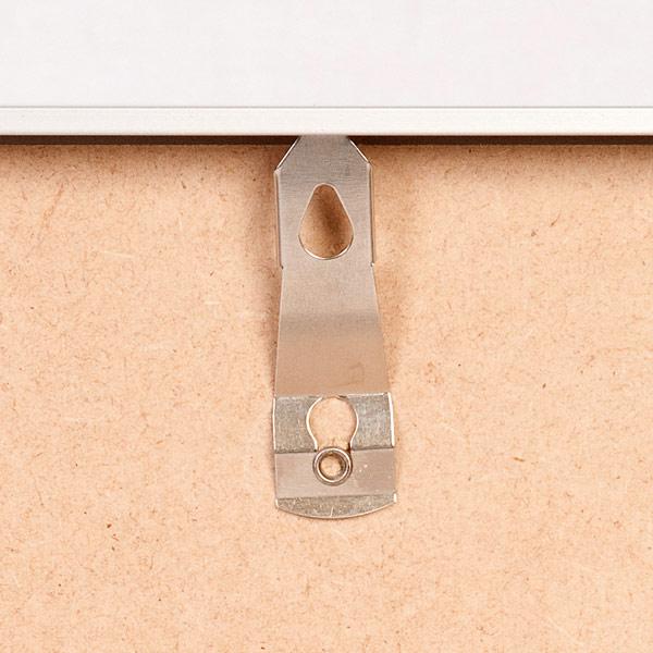Silver aluminium frame hanger clip