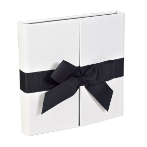 Sara Ribbons white bonded leather photo album