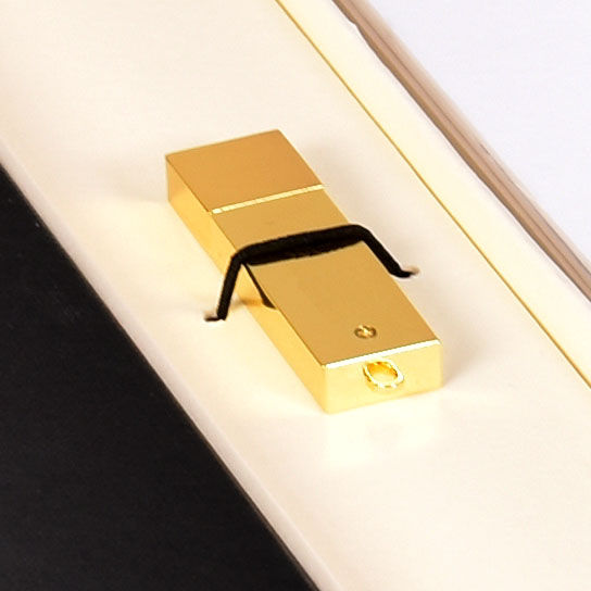 Plain gold flash drive