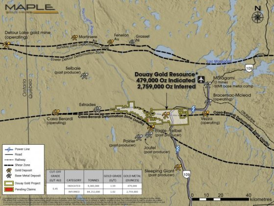Maple Gold Mines   Maps   Figures Douay Gold Project Area