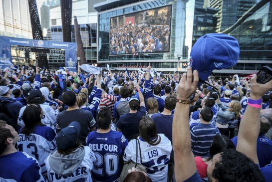 fans on maple leafs square