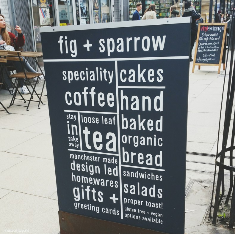 9x hot spots in Northern Quarter, Manchester, Fig + Sparrow - Map of Joy